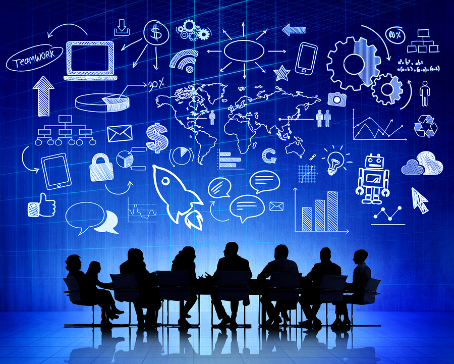 Business Meeting at Table with Infographic